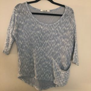 Blue White Knit Top W/ Pocket EUC